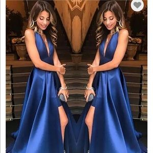 High-Low Backless Satin Prom Dress